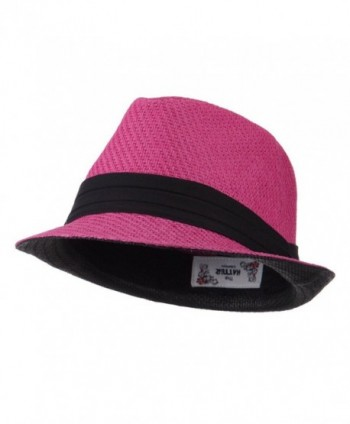 Toyo Straw Fedora Hat with Black Band - OSFM - Fuchsia - CR11E8U1RVL
