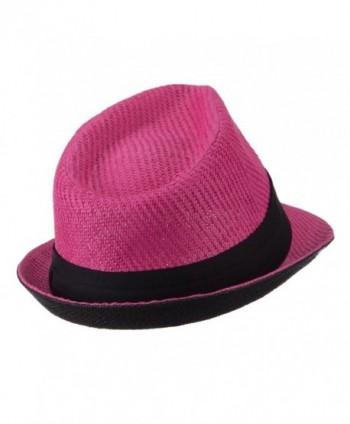 b2433601d557ee Toyo Straw Fedora Hat with Black Band - OSFM - Fuchsia - CR11E8U1RVL