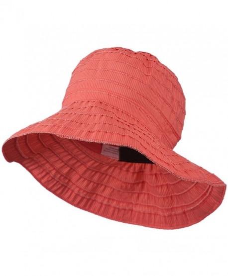 UPF 50+ Women's Polyester Bucket Shaped Hat - Coral Stripe W12S45B - C011D3H63MD