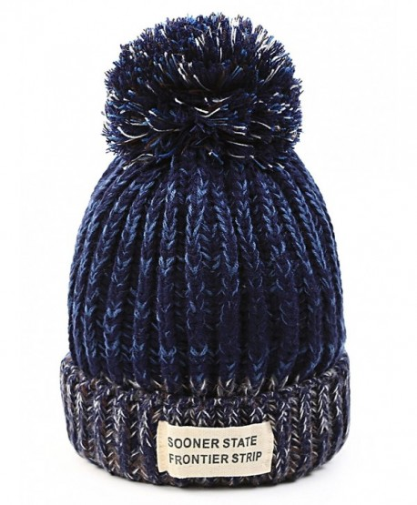 FADA Women Winter Hats - Soft Stretch Cable Knit Ribbed Faux Fur Pom Pom Beanie Hat - Blue - CX1888NTI7L