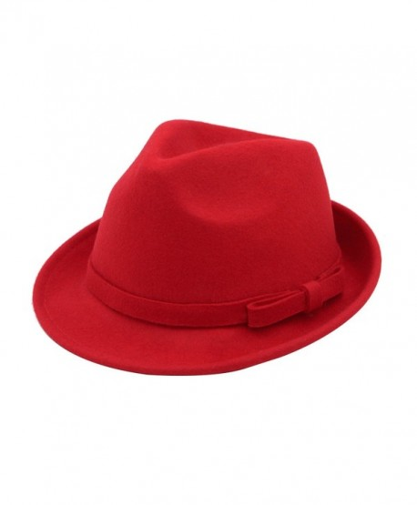 Women s Deluxe 100% Wool Solid Color Fedora Hat - Different Colors - Red -  CJ1260W212X 09939e842d3