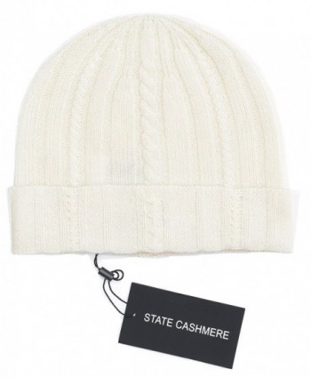 State Cashmere 100% Pure Cashmere Cable Knit Beanie Hat - Ultimate Soft-Warm and Cozy - Ivory - CN187M9EQ22