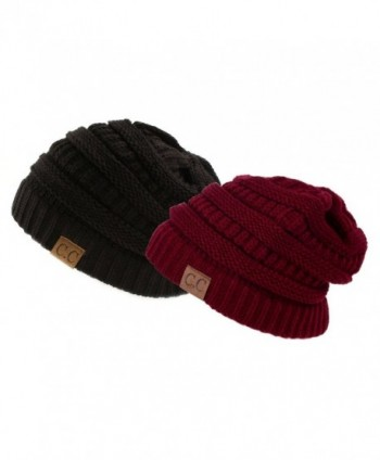 Trendy Warm Chunky Soft Stretch Cable Knit Slouchy Beanie Skully- Gift Set-Black & Burgundy- One Size - CA11PW1Y6PT