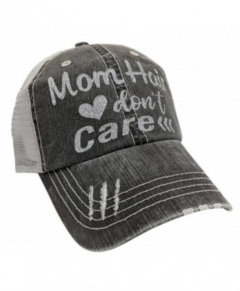 Loaded Lids Women's Mom Hair Don't Care Bling Baseball Cap - Silver - CR1875K53OZ