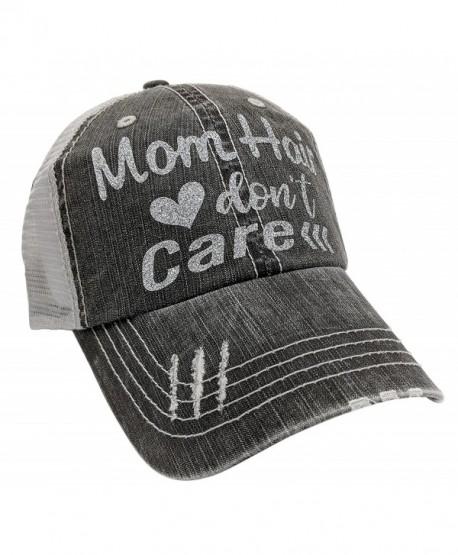 Loaded Lids Women's Mom Hair Don't Care Bling Baseball Cap - Silver - CR1875K53OZ