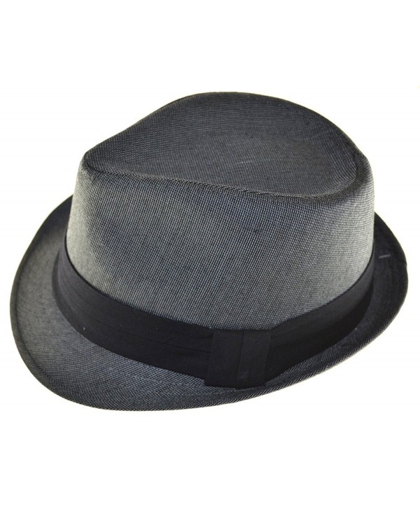 MLN Men's Fedora Black Band L/xl Charcoal Gray - CU11965H7PN