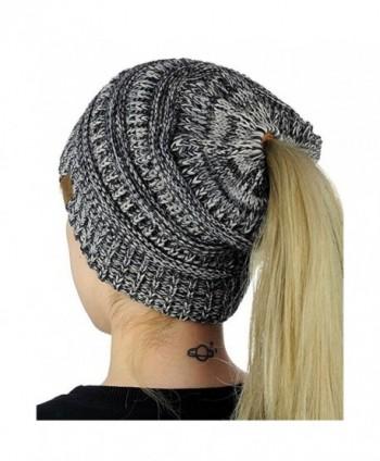 Permen Perman Women Winter Warm Knitted Ponytail Beanie Hat Messy High Bun Stretch Ribbed Cap - Multicoloured - CT188HM2U5M