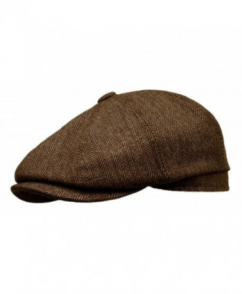 Rooster Herringbone Wool Tweed newsboy Gatsby IVY Cap Golf Cabbie Driving Hat - Dark Brown - CL1207TX65L