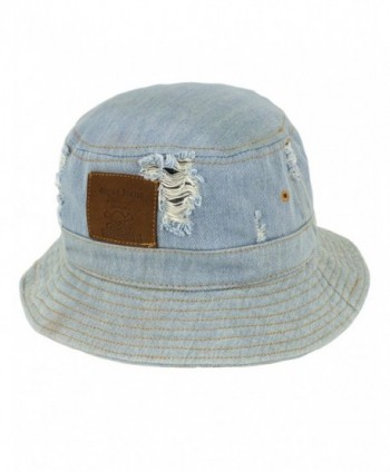 Dahlia Summer Sun Hat - Casual Distressed Denim Bucket Hat - Light Blue - CB11ZR0XYOJ