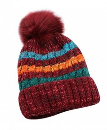 Women Winter Warm Knit Beanie Hat Fleece Lined Striped Ski Cap with Fur Pom Pom - Red - CM186TX7X75