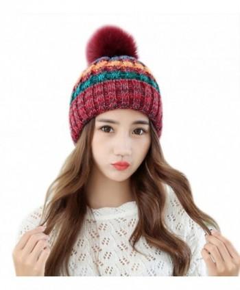 92e02f5d4 Women Winter Warm Knit Beanie Hat Fleece Lined Striped Ski Cap with Fur Pom  Pom - Red - CM186TX7X75
