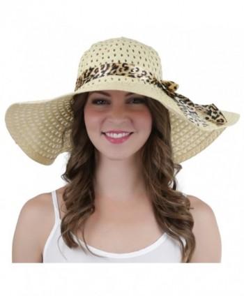 d973d19b Available. ToBeInStyle Womens' Elastic String Cheetah Ribbon Wide Brim  Summer Hat - Beige ...