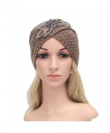 Vcenty Women's Warm Knit Hat Braided Turban Headdress Cap for Autumn Winter - Khaki - C31867SG0R2