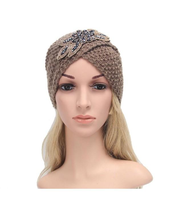 Vcenty Women's Warm Knit Hat Braided Turban Headdress Cap for Autumn Winter - Khaki - C31867SG0R2