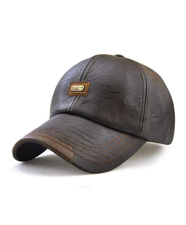 King Star Men Winter Warm Faux Leather Adjustable Baseball Cap - Coffee - CN186S8RZHW