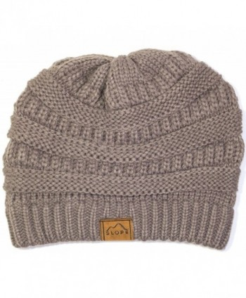 Slope Knitted Beanie Warm Chunky Thick Soft Stretch Cable Beanie Hat - Gray - CS11S66BISP