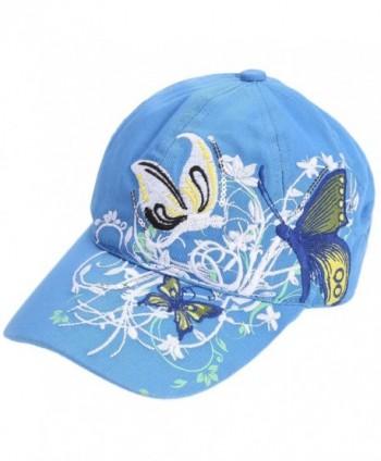 809e080b2546 Lightweight Butterfly & Flowers Embroidered Women Baseball Cap Sun Hat-  100% Cotton - Blue