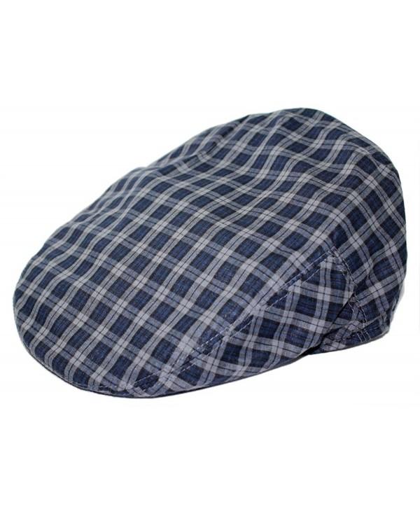 Mens Plaid Golfing Beret Summer Ivy Ascot Cabbie Cap Hat Ivy Newsboy - Dark- Navy - CB11U0XZW7Z