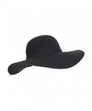 Vintage 100% Wool Felt Large Floppy Hat Bowler Fedora with Wide Brim and Trim - Black - CK186782T70