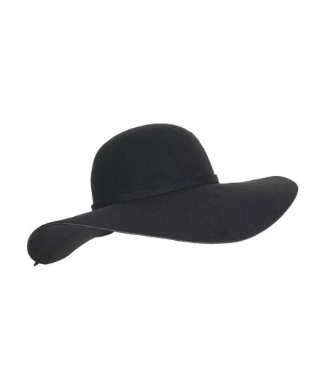 Vintage 100% Wool Felt Large Floppy Hat Bowler Fedora with Wide Brim and  Trim - Black - CK186782T70 dc9cb3b31fe