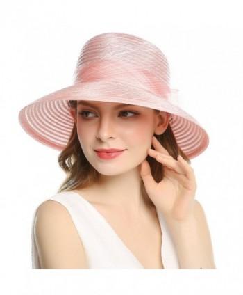 Welrog Women's Organza Wide Brim Bowknot Ponytail Kentucky Derby Church Dress Sun Hat - Pink - CT1807MT965