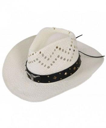 EPGW Men / Women's Western Cowboy Straw Hat with Shapeable Brim - Ivory_bull - CM12HXHKAIZ