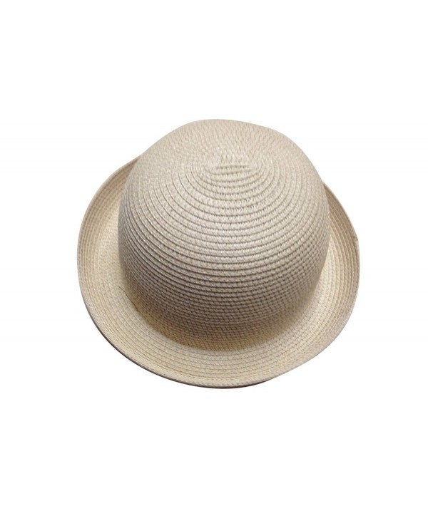 JTC Lady Straw Sun Hat Roll up Brim Bowler Visor Cap 11colors - Beige - C111KGMR1MT