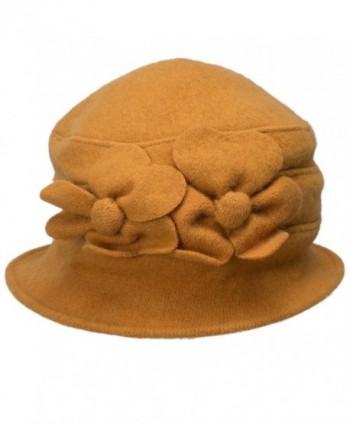 Lawliet Solid Color Retro Womens 100% Wool Flower Dress Cloche Bucket Cap Hat A218 - Yellow - C912MDJVXFN
