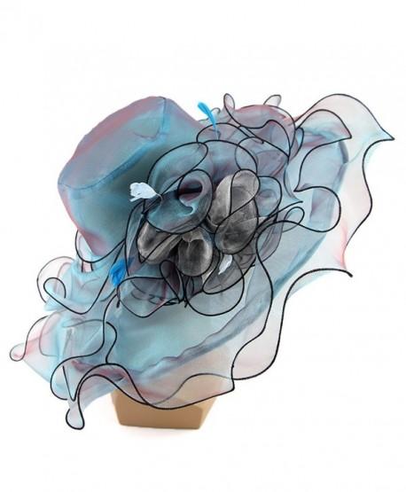 c1ececfc79958 Women Foldable Organza Church Derby Hat Ruffles Wide Brim Summer Bridal Cap  - Blue - CT183K3OOH2