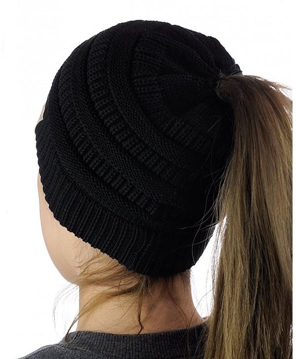 VANGAY Beanie Tail Women's Soft Stretch Knit- Messy High Bun Ponytail Beanie Tail Cap Hat - Black - CI1883MTZ5C