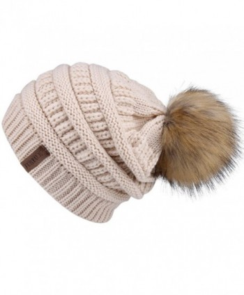 FURTALK Womens Slouchy Winter Knit Beanie Hats Chunky Hat Bobble Hat Ski Cap - Beige With Pom - CC185XUNT3H