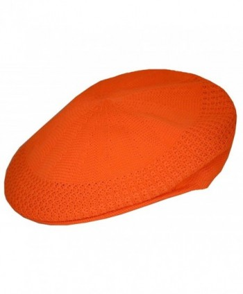KB Men's Mesh Ivy Cabbie Cap Crochet Hat Orange - CL12FE11VFT