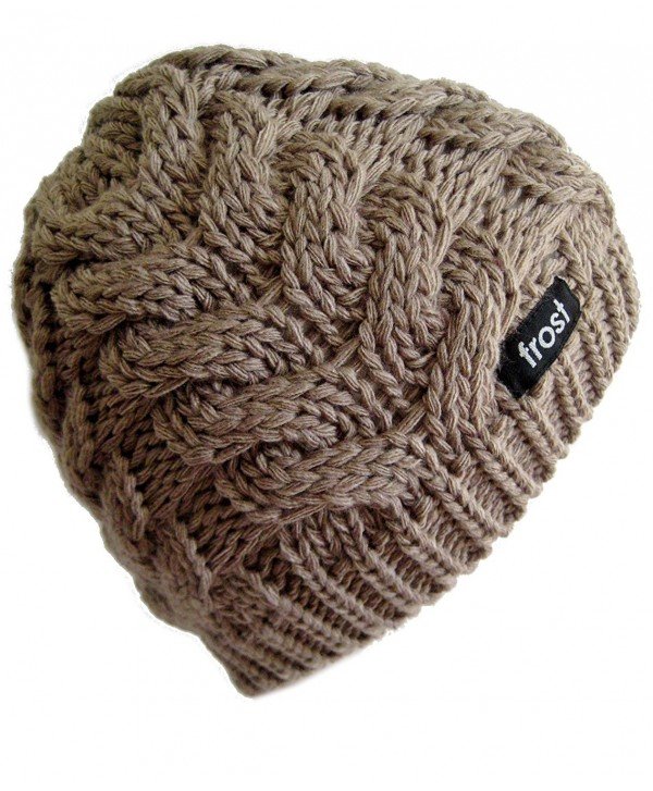 Frost Hats Winter Beanie Skully Cable Knit Hat M2013-4 - Light Brown - CK11ITS99RR