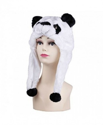 Viskey Animal Plush Hat with Ear Flaps - white-black - CT11PBXBYDF
