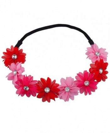 Lux Accessories Shades of Pink Flower Floral Chiffon Headband - C512F8L6Z5B