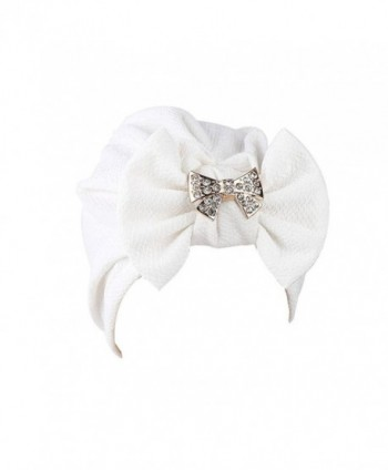 QingFan Women Solid Bow Pre Tied Cancer Chemo Hat Beanie Turban Stretch Head Wrap Cap - White - CD185ZYKTYI