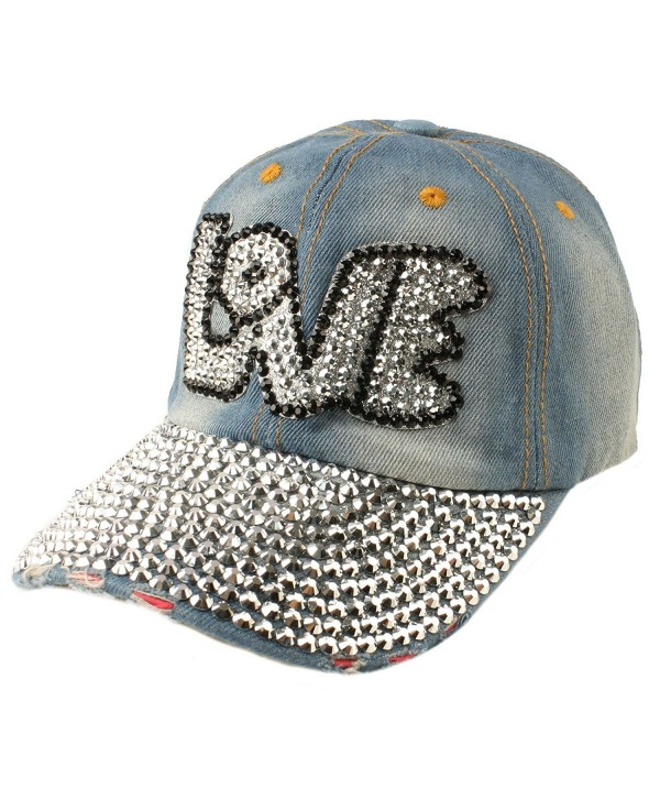 Bubble Love Jewel Rhinestone Bling Studs Baseball Ball Cap Hat Adjustable - Denim - CO11VWU3OLL