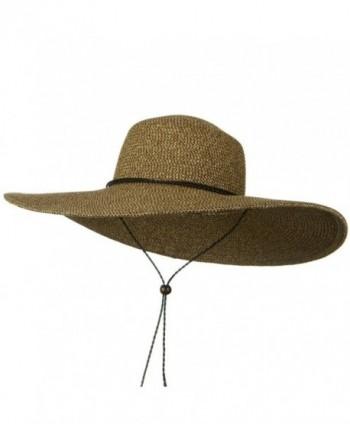 5 1/2 Inches Wide Brim Tweed Straw Hat - Natural Brown Tweed - C7116MTBKLN