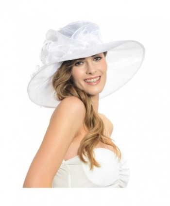 Women Kentucky Derby Horse Racing Plume Satin Wide Brim Formal Hat Sd035 (White) - White - CV11NDBBTR3