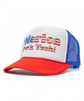 'Merica F Yeah Unisex-Adult Trucker Hat -One-Size Curved Royal/Red - CT11LS2YD6N