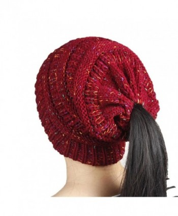 DORIC Women Beanie With Ponytail Hole Winter Knit Caps Hat - Red - C0188YGM7WL