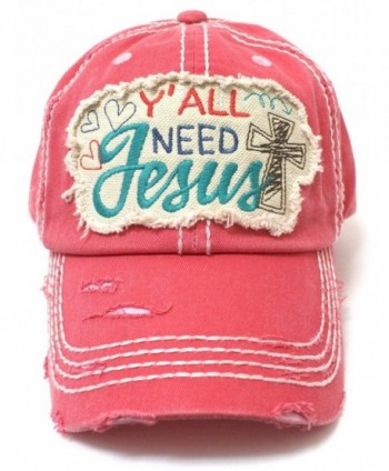 CAPS 'N VINTAGE hearts- Cross- Y'all Need Jesus Patch Embroidery Hat-Rose - C5180L25758