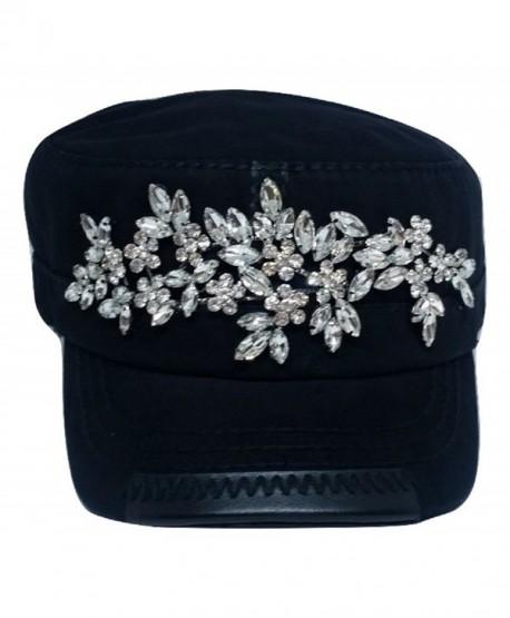 Women's Horizontal Floral Bling Cadet Hat - Black - C71836H54DG