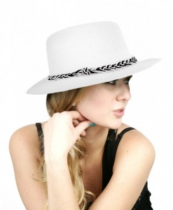 NYFASHION101 Casual Dual Color Braided Band Solid Color Panama Fedora Hat - White - CK11VHJ25DF