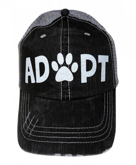 324c04cd0cdb5 White Glitter Adopt Paw Print Mom Grey Trucker Baseball Cap Animal Dog Cat  - C117YQ2Q322
