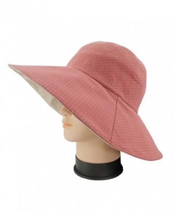 Ledamon Women's Sun Hat Reversible Wide Brim Floppy Outdoor Beach Sun UV Protection Cap - Light Red - C318CDA4H9R