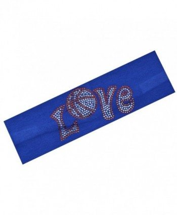 Basketball Rhinestone Cotton Stretch Headband - Royal Blue - CT11PTHQ7EJ
