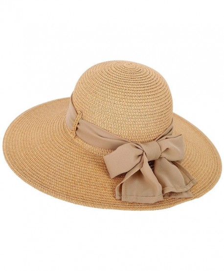Toppers Womens Summer Sun Beach Hat Big Bowknot Wide Brim Straw Hat UPF 50+ - Nature - CI18C9KKOY5