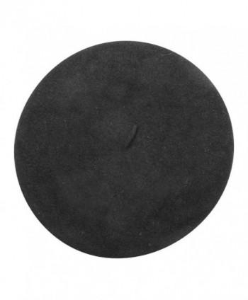 Parkhurst Women's Basque Beret - 100% Wool French Hat Cap - Black - CM11B8WPCOF