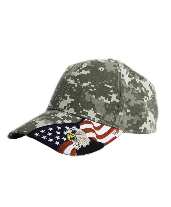 Embroidered USA American Eagle and American Flag 100% Cotton Adjustable Baseball Cap Digital Camo - Digital Camo - CV1250GSZ6L